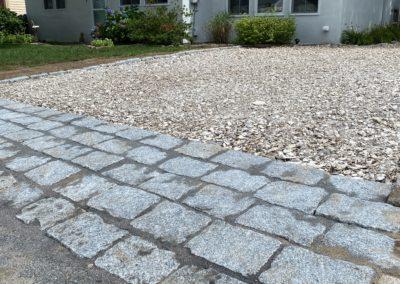 Cobblestone Apron and Crushed Seashell Driveway Installation   Fairhaven, MA